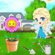 Game Baby Elsa Flower Care